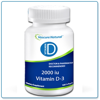 Vascure Natural Vitamin D3 2000IU 100 softgels